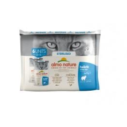 Almo Holistic Cat Functional  Multipack STERILISED - 3x Merluzzo + 3x Pollo 6 x 70 gr.