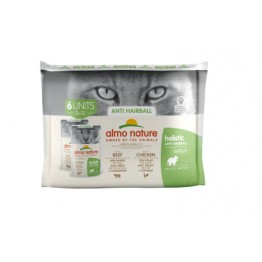 Almo Holistic Cat Functional  Multipack Anti Hairball - 3x Manzo + 3x Pollo 6 x 70 gr.