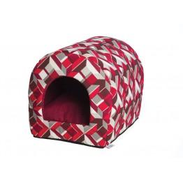 Tunnel Vulcano con cuscino estraibile geometrico/rosso