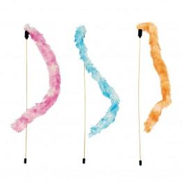 Canna da pesca con piume colori assortiti 47 cm