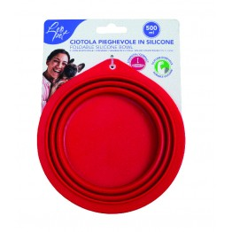 Ciotola da viaggio in silicone, pieghevole, rosso 250ml