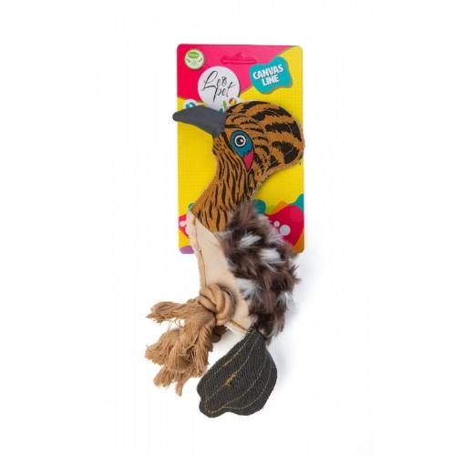 Gioco per cani Picchio in tela con nodo in corda 24x7,5x10 cm
