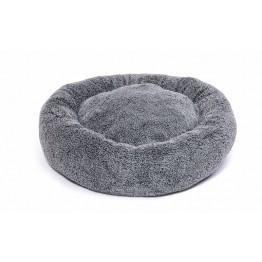 Cuscino rotondo in morbido peluche, grigio 60 cm