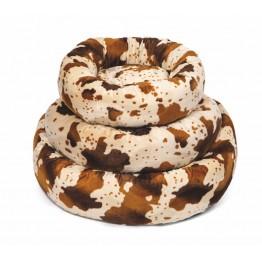 Cuscino rotondo in morbido pile, beige/marrone 60 cm