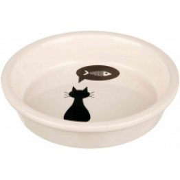 Ciotola in ceramica con gatto, 0,25 l/ø13cm, bianco