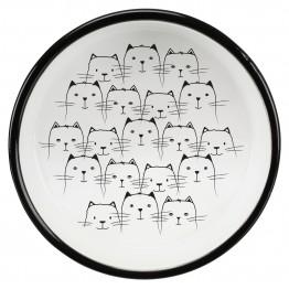 Cat bowl for short-nosed breeds, ceramic, 0.3 l/ø 15 cm, black/white