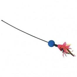 Bacchetta con piume e pallina con sonaglio 51 cm
