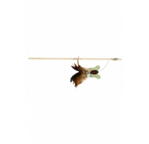 Asta da gioco Farfalla, con piume e erba gatta 45 cm