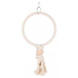 Anello in corda con blocchetto in legno ø 19 cm
