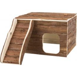 Casa funzionale Gunnar, porcellino d'India, legno di corteccia, 35×23×30/