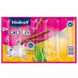 Vitakraft Cat Stick mini poulet/herbe-à-chats 6 pces