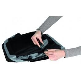 Trasportino de Luxe XS–S: 35 × 35 × 50 cm, nero/grigio